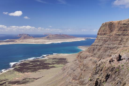 View from Famara Mountains to La Graciosa Island, Lanzarote, Canary Islands, Spain, Atlantic-Markus Lange-Photographic Print