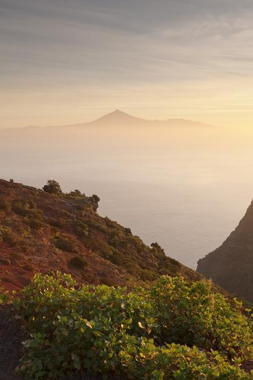 View from Gomera to Tenerife with Teide Volcano at Sunrise, Canary Islands, Spain, Atlantic, Europe-Markus Lange-Photographic Print