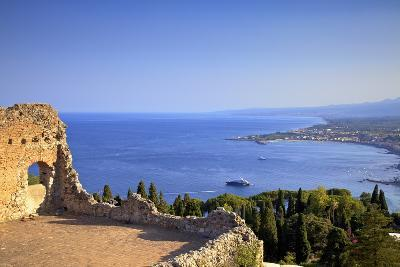 View from Greek Theatre with Mount Etna and Coast in Background-Neil Farrin-Photographic Print