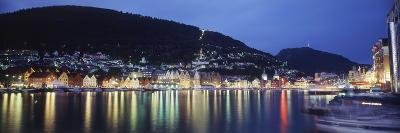 View from Harbor at Night, Bryggen, Hordaland, Norway-Walter Bibikow-Photographic Print
