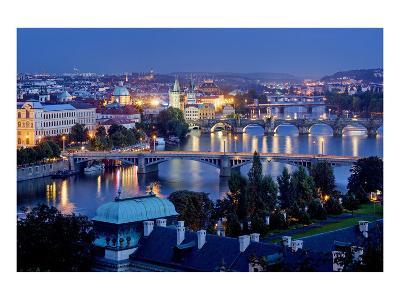 View from Letna Hill across Vltava Bridges towards the Old Town of Prague, Czech Republic--Art Print