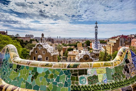 View from Parc Guell Towards City, Barcelona, Catalonia, Spain-Sabine Lubenow-Photographic Print