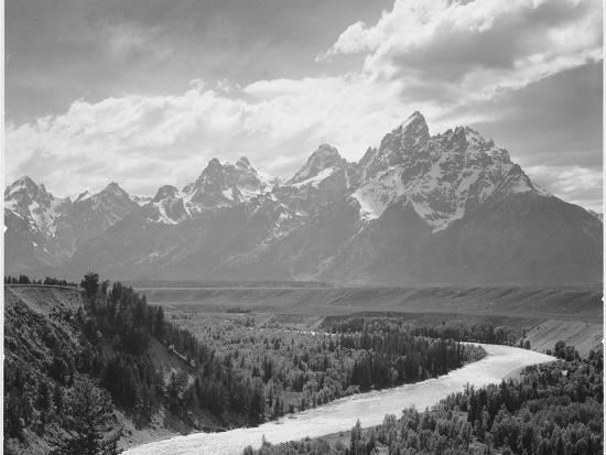 View From River Valley Towards Snow Covered Mts River In Fgnd, Grand Teton NP Wyoming 1933-1942-Ansel Adams-Art Print