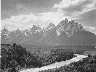 View From River Valley Towards Snow Covered Mts River In Fgnd, Grand Teton NP Wyoming 1933-1942-Ansel Adams-Premium Giclee Print