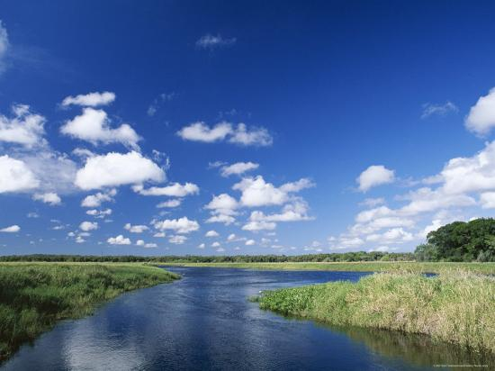 View from Riverbank of White Clouds and Blue Sky, Myakka River State Park, Near Sarasota, USA-Ruth Tomlinson-Photographic Print