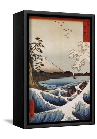 View from Satta Suruga-Ando Hiroshige-Framed Canvas Print