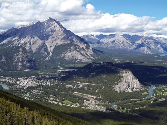 View from Sulphur Mountain to Banff, Banff National Park, UNESCO World Heritage Site, Alberta, Rock-Hans Peter Merten-Photographic Print