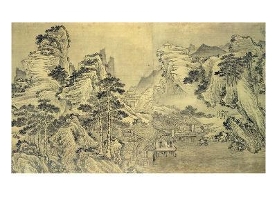 View from the Keyin Pavilion on Paradise (Baojie) Mountain, 1562 (Ink on Silk)-Wang Wen-Giclee Print