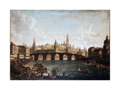 View from the Moscow Kremlin and the Bolshoy Kamenny Bridge (Greater Stone Bridge), 1810S-Fyodor Yakovlevich Alexeev-Giclee Print