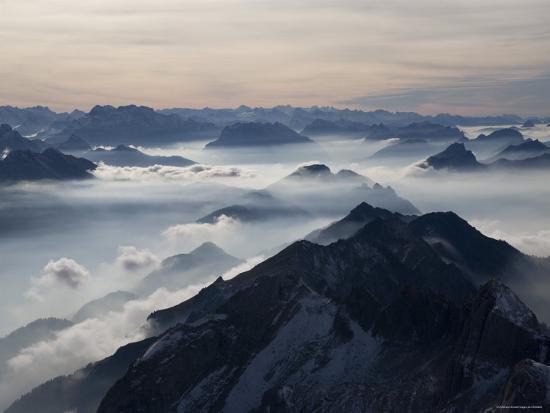 View from the Mount Santis, Appenzell Innerrhoden, Switzerland-Ivan Vdovin-Photographic Print