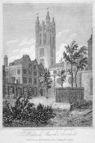 View from the South of Church of St Michael, Cornhill, City of London, 1816-Thomas Higham-Giclee Print
