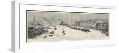 View from the Tower Bridge, London, Looking West--Framed Giclee Print