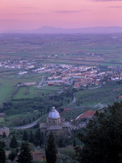 View from the Town at Sunset, Cortona, Tuscany, Italy, Europe-Patrick Dieudonne-Photographic Print