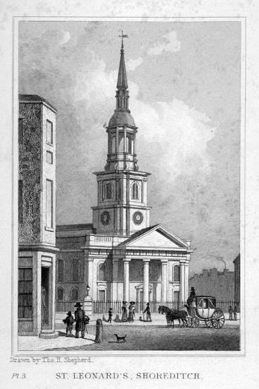 View from the West of St Leonard's Church, Shoreditch, London, C1827--Giclee Print