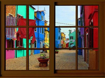 View from the Window at Burano Window,-Anna Siena-Giclee Print