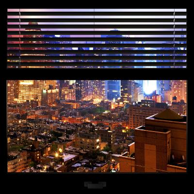View from the Window - Hell's Kitchen Night - Manhattan-Philippe Hugonnard-Photographic Print