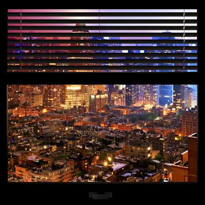 View from the Window - Hell's Kitchen Night - Manhattan-Philippe Hugonnard-Photographic Print