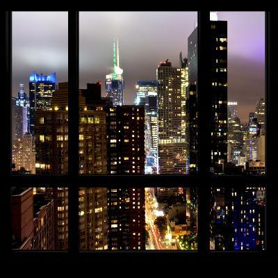 View from the Window - Manhattan Skyline by Night-Philippe Hugonnard-Photographic Print