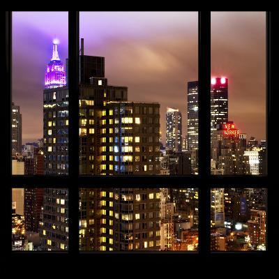 View from the Window - Manhattan Skyline by Night-Philippe Hugonnard-Photographic Print
