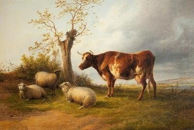 View in Stour Valley with Cow-Thomas Sidney Cooper-Giclee Print