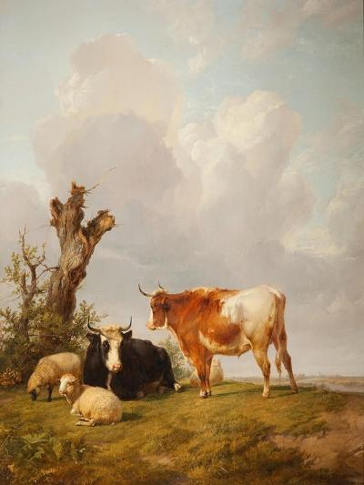 View in Stour Valley with Two Cows-Thomas Sidney Cooper-Giclee Print