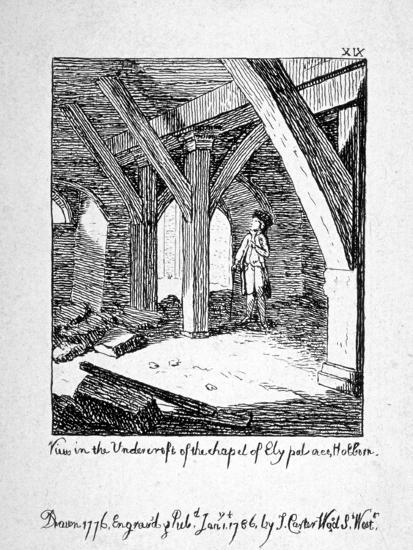 View in the Undercroft of the Church of St Etheldreda, Ely Place, Holborn, London, 1786-John Carter-Giclee Print