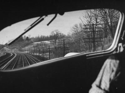 View Looking at the Railroad Tracks from the Front Window of the Train-Peter Stackpole-Photographic Print