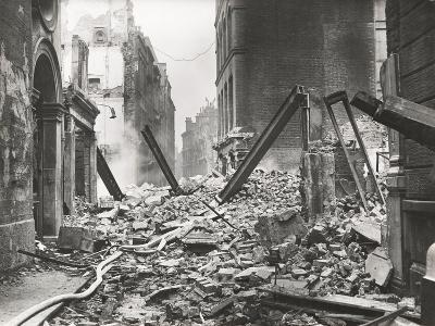 View Looking South Down Walbrook after an Air Raid, City of London, World War II, 1941--Photographic Print