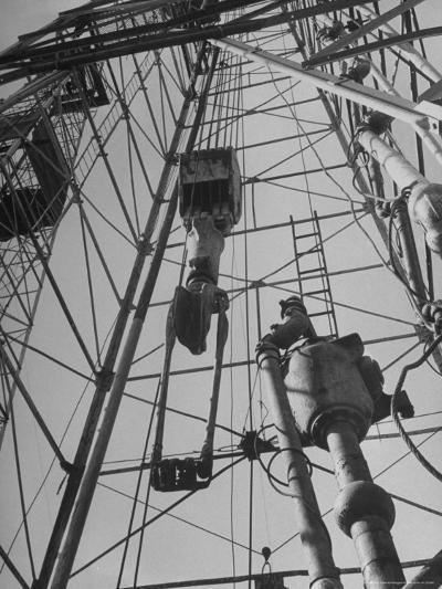 View Looking Up Derrick During Oil Drilling Operations Off Louisiana Coast-Margaret Bourke-White-Photographic Print