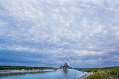 View near Fortified Town during Low Tide, Mont Saint Michel, Lower Normandy, France-Massimo Borchi-Photographic Print