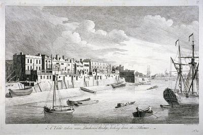 View Near Limehouse Bridge, London, Looking Down the River Thames, 1751-John Boydell-Giclee Print