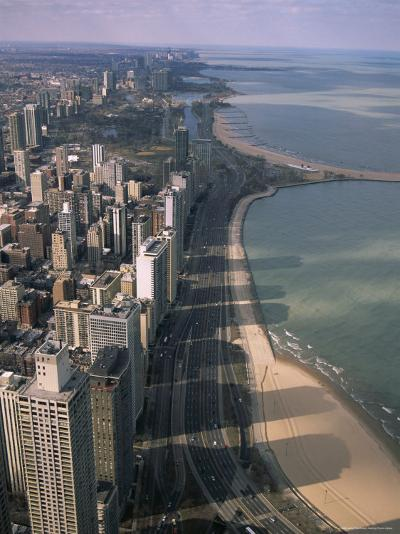 View North Along Shore of Lake Michigan from John Hancock Center, Chicago, Illinois, USA-Jenny Pate-Photographic Print