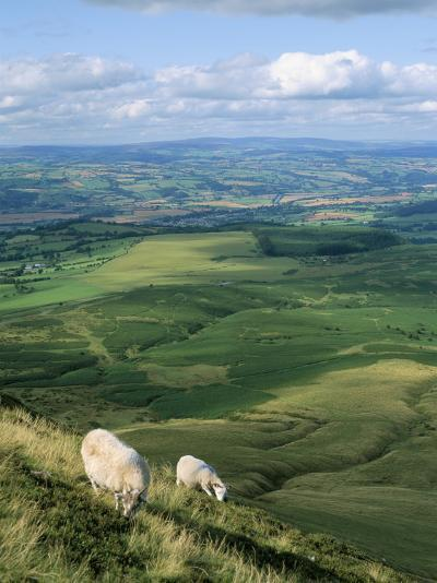View North from Hay Bluff, with Distant Hay on Wye in Valley, Powys, Wales, United Kingdom-Richard Ashworth-Photographic Print