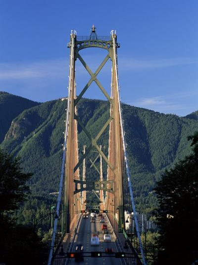 View Northwards Over the Lions Gate Bridge from Stanley Park, Vancouver, British Columbia, Canada-Ruth Tomlinson-Photographic Print