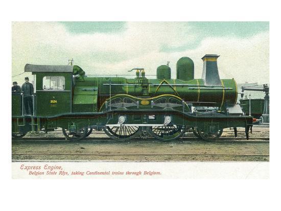View of a Belgian Express Engine-Lantern Press-Art Print