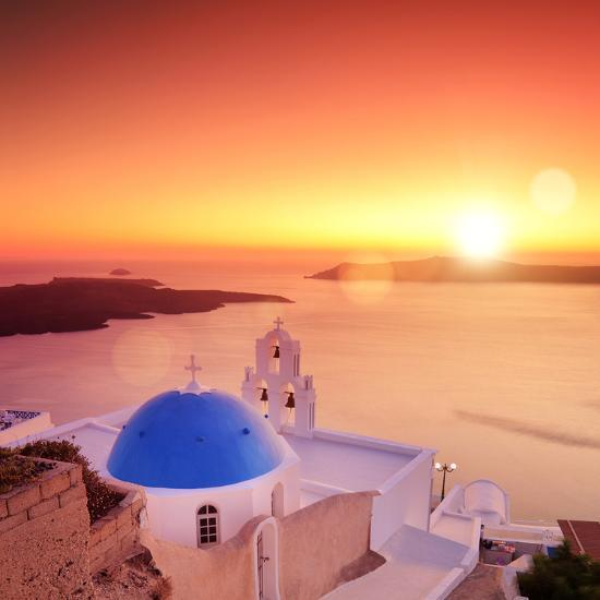 View of a Blue Dome of the Church St. Spirou in Firostefani on the Island of Santorini Greece, at S-buso23-Photographic Print