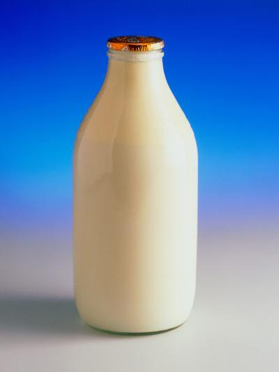 View of a Bottle of Full Fat Gold-top Milk-Steve Horrell-Photographic Print