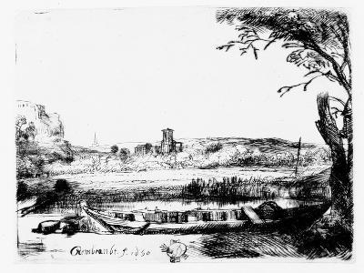View of a Canal, 1650 (Etching)-Rembrandt van Rijn-Giclee Print
