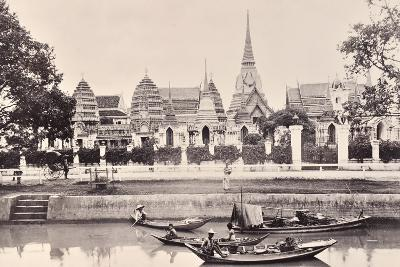 View of a Canal in Bangkok, C.1890-Robert Lenz-Photographic Print
