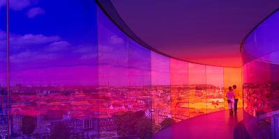 View of a City from the Translucent Walkway of a Museum, Aros Aarhus Kunstmuseum, Aarhus, Denmark--Photographic Print
