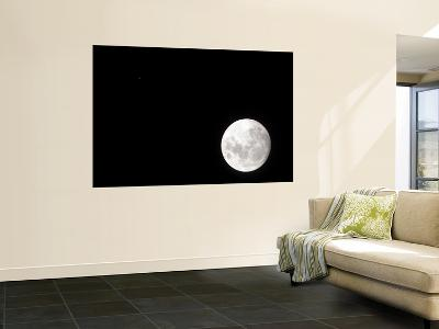 View of a Full Moon, Also Shows Mars, Which Appears as a Small Dot--Wall Mural