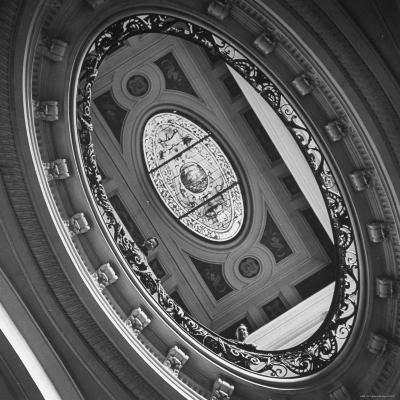 View of a Gorgeous Stained Glass Window in the Ceiling-Ralph Morse-Photographic Print