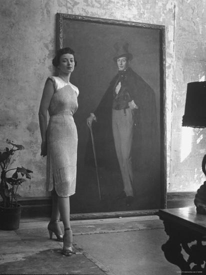 View of a Harper and Vogue Model in Designer Clothes-Nina Leen-Photographic Print