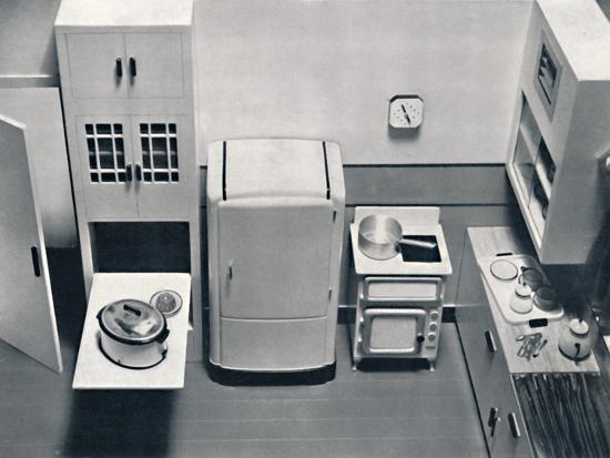 'View of a kitchen, designed by H.M.V. Household Appliances', 1938-Unknown-Photographic Print