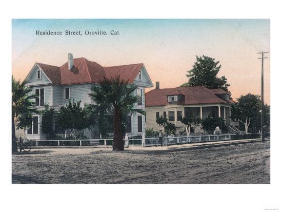 View of a Residence Street, Kid on Bike - Oroville, CA-Lantern Press-Art Print