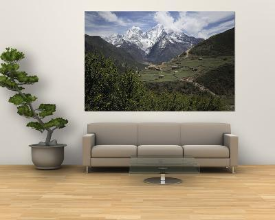 View of a Small Village with Mount Everest in the Background-Tim Laman-Giant Art Print