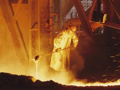 View of a Steel Worker Working in Protective Clothing-Joe Scherschel-Photographic Print