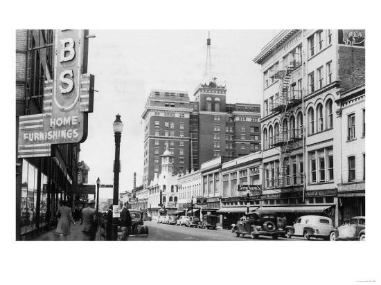 View of a Street Scene Downtown - Spokane, WA-Lantern Press-Art Print