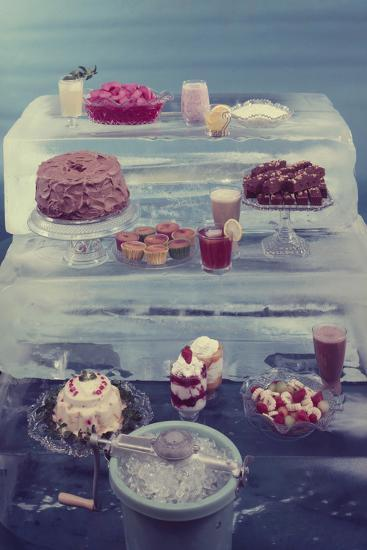 View of a Variety of Desserts Arranged on Blocks of Ice, 1960-Eliot Elisofon-Photographic Print