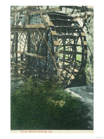 View of a Water Wheel - Redding, CA-Lantern Press-Art Print